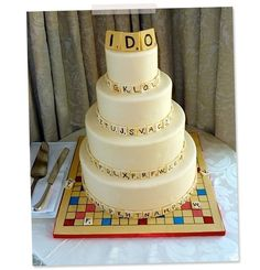 We wonder what a Words with Friends cake would look like. Photograph courtesy of Kendall Barrett This cake elicited many shrieks of joy around our office—a full-on, completely realistic Scrabble wedding cake by Kendall Barrett of Kendall's Cakes in. Unique Wedding Cakes, Unique Cakes, Wedding Cake Designs, Wedding Ideas, Wedding Planning, Wedding Story, Wedding Pics, Wedding Favors, Wedding Venues