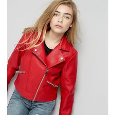 3afab1bc09209 New Look Teens Red Leather-Look Jacket (49 CAD) ❤ liked on Polyvore