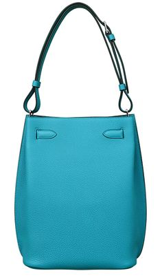 Hermes - So Kelly bag in turquoise leather. Back view.