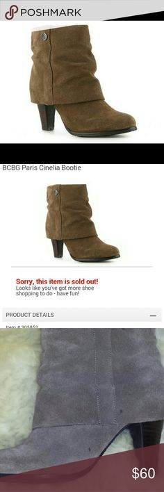 """🎉Sale🎉BCBG suede boots The BCBG Paris Cinelia cuffed bootie has a ruched design and a stacked block heel making it the perfect bootie for any occasion! Suede upperRuched fold over cuffRound toeFully lined in suede3?"""" stacked block heelFlexible synthetic sole  Super cute suede boots. Never worn, but no tags nor box. Only has 2 small spots shown on last picture. No scuffs and never used, new. Just throw on some jeans and these boots and your set. They are currently SOLD OUT at DSW website…"""