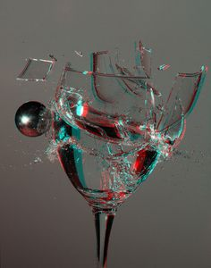 Breaking Glass    Shooting a steel ball against a glass full of water. (3D anaglyph picture, requires red-cyan glasses for viewing.) Photo By fksr