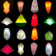 Modular Geometric Paper Lamps, 5 designs #lighting #papercraft #paper_craft
