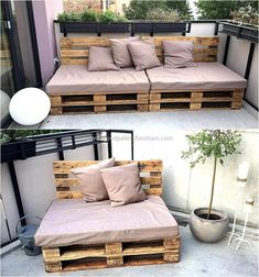 Some people think that there is no other way of getting furniture other than paying a huge amount for it but it is not true as you can see the wood pallets can be restyled to get it. The pallet patio couch idea by Lucies Palettenmöbel is perfect to fulf Pallet Garden Furniture, Furniture Projects, Home Furniture, Furniture Design, Outdoor Palette Furniture, Balcony Furniture, Rustic Furniture, Pallette Furniture, Small Patio Furniture