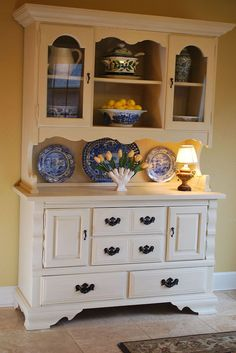 Craigslist hutch makeover with Annie Sloan chalk paint in Old Ochre   - the before was SO AWFUL!  lol