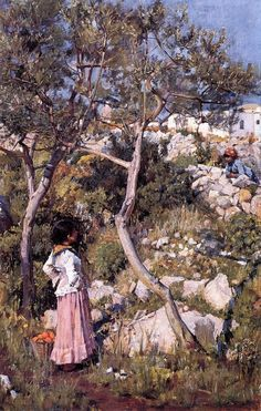 Two Little Italian Girls by a Village by John William Waterhouse, 1875. Early Waterhouse - it actually has his signature..
