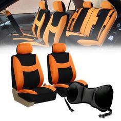 Car Front Bucket Seat Covers w/Gray Seat Cushion Pad combo Auto Car Orange