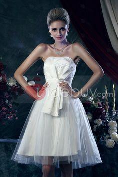 Luxurious A-Line Strapless Knee-length Bowknot Dasha's Wedding Dress