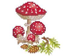 Mushroom (Amanita) - PDF Cross Stitch Pattern, Fabric: or Aida, Grid Size: x Design Area: x or x Dmc Embroidery Floss, Diy Embroidery, Cross Stitch Embroidery, Embroidery Designs, Counted Cross Stitch Patterns, Cross Stitch Designs, Mushroom Crafts, Craft Museum, Simple Cross Stitch