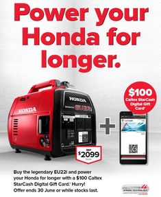 13 best honda generators images on pinterest generators honda and with a 100 caltex starcash digital gift card hurry offer ends 30 june or while stocks last hondapowerequipment eu22i generator geraldtonmowers swarovskicordoba Choice Image