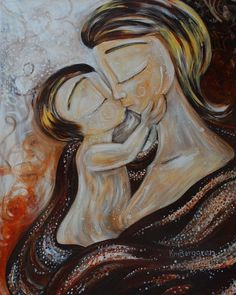 Mother and child kissing art print - Lyric - archival signed 8x10 motherhood print by Katie M. Berggren