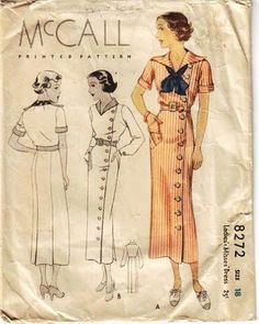 Sailor Dress - McCall 8272, c 1934