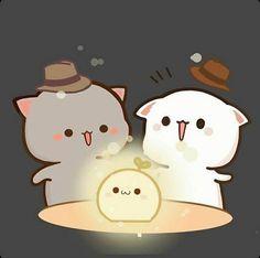 Cute Anime Cat, Cute Bunny Cartoon, Cute Kawaii Animals, Cute Cartoon Pictures, Cute Love Pictures, Kawaii Cat, Cute Cat Gif, Chibi Panda, Chibi Cat