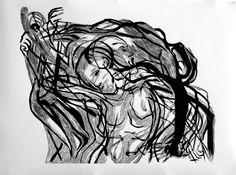 Sinead O'Conor, 100x70cm linocut, 2013, Marta Bożyk