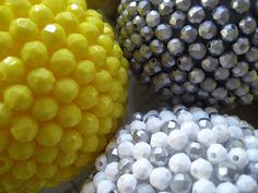 Styrofoam balls + beads + hot glue gun.