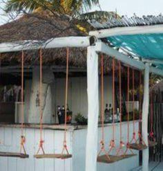 Beach Bar at Tulum Pool Bar, Outdoor Tiki Bar, Outdoor Ideas, Outdoor Cafe, Lounge Bar, Tiki Bar Decor, Outside Bars, Photo Deco, Swing Design