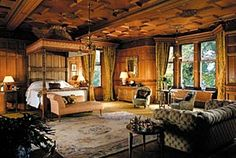 One of the grand bedrooms at Skibo Castle in Sutherland, Scotland.