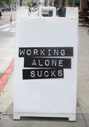 Working alone sucks #coworking  #Co-Working  #wall #paint #posters, motivational #quotes, coworking #interior #design, #wall #decoration