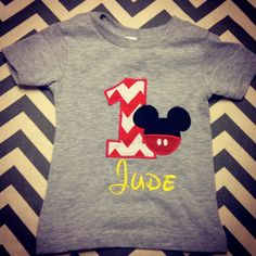 Personalized Disney Mickey Mouse First Birthday Shirt or Onesie on Etsy, $22.00