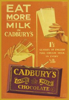 Old advert for Cadbury Dairy Milk Chocolate Old Advertisements, Retro Advertising, Retro Ads, Vintage Candy, Vintage Labels, Vintage Food Posters, Retro Posters, Movie Posters, Nostalgia