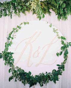 A Romantic, Flower-Filled Wedding in Oklahoma   Martha Stewart Weddings - The couple's monogram appeared oversize over the bar. It also appeared on the foil-stamped cocktail napkins, a sign welcoming people as they drove through the gates, and on the top of each dinner menu.