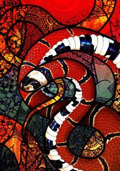McClelland's Coral Snake by Culpeo-Fox on DeviantArt Snake Wallpaper, Coral Wallpaper, Iphone Wallpaper, Chalk Drawings, Art Drawings, Snake Painting, Coral Snake, Coral Art, Chakra Art