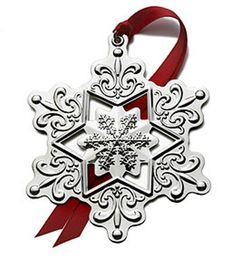 Lunt 2014 Annual Silver Plate Jeweled Snowflake Ornament With