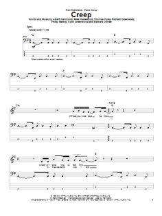 Creep by Radiohead Bass Guitar Tab Digital Sheet Music – Guitar Ideas Ukulele Tabs Songs, Ukulele Fingerpicking Songs, Guitar Tabs And Chords, Music Guitar, Learn Bass Guitar, Bass Guitar Lessons, Guitar Tips, Easy Guitar, Piano