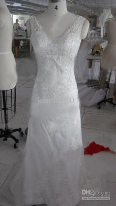 Wholesale Custom Made Cheap Sheath/Column Lace Wedding Dress V-Neck Sleeveless Zipper Sequins Court Train, Free shipping, $179.85-207.0/Piece | DHgate