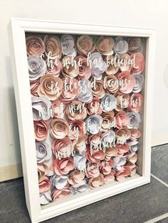 DIY shadow box with paper flowers                                                                                                                                                     More
