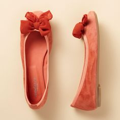 BOWTIE BALLET FLATS -- Our Italian-made ballet flats are crafted of soft suede, trimmed in grosgrain ribbon and embellished at the toe with a georgette bow. Lightly padded leather insole