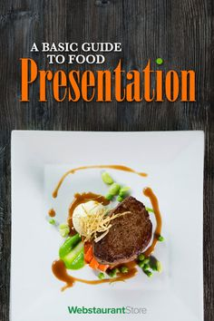 A Basic Guide to Food Presentation is part of Food plating techniques - We break down examples of three popular plating styles classic, free form, and landscape As well as popular tools, basic principles, and howto video! Spaghetti Eis Dessert, Gourmet Recipes, Cooking Recipes, Gourmet Desserts, Gourmet Foods, Sushi Recipes, Plated Desserts, Gourmet Food Plating, Food Plating Techniques