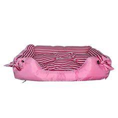 Cama Quadrada Ilhóis Rosa com Listras Brancas Dog's Care - MeuAmigoPet