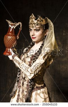 Beautiful girl dancing in studio with a jug in national dress. Traditional Fashion, Traditional Dresses, Beautiful Girl Dance, Armenian People, Armenian Culture, Folk Costume, Girl Dancing, Girls Image, Fashion History