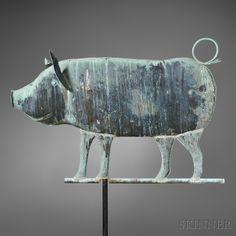 Molded Copper Pig Weathervane