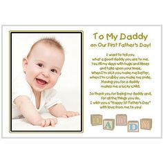 New Dad - To My Daddy On Our First Fathers Day - Touching poem in clear frame - Add photo after delivery