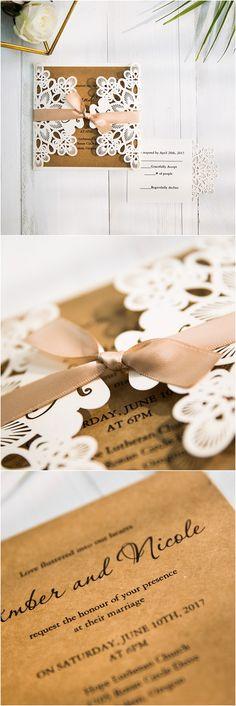 chic rustic elegance laser cut wedding invitations