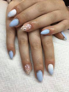 Azzurro lilla bianco spugnato argento glitter maculato