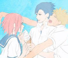 Sasuke and naruto fighting over sakura