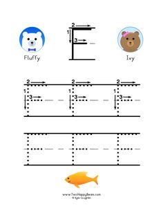How to write the letter F, with large images to trace for practice, in free printable PDF format. Free Printable Alphabet Worksheets, Free Printables, Learning Letters, Kids Learning, To Trace, Letter F, Colorful Pictures, Preschool Activities, Coloring Pages