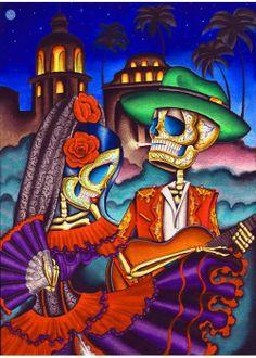Dark Desert Highway Dave Sanchez Framed Art Print Mexican Lovers Day of the Dead
