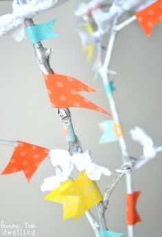 Spring twig tree with washi tape & fabric buds from Lemon Tree Dwelling