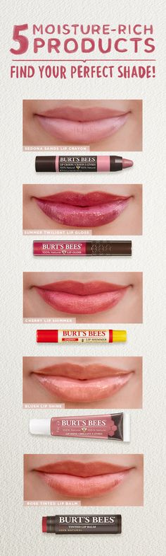 Glossy, shimmery, subtle, matte, for nude lips, pink lips, or red lips—nature made color for every lip look in the book. Choose from five natural lip color products in over 45 moisturizing shades, for endless possibilities for lovely lips of every shape.