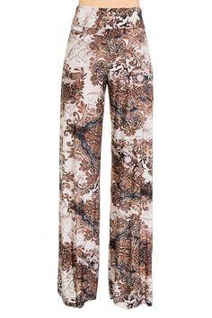 High Waist Fold Over Wide Leg Gaucho Palazzo Pants (Brown Vintage)