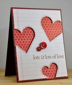 #papercraft #card - Valentine's negative space hearts, notebook paper.  Very cute.