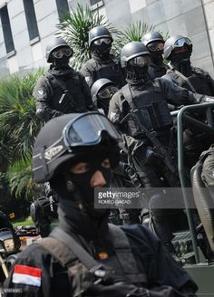 Indonesian elite police anti-terrorist commandos from Densus 88 and Crisis Response Team