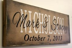 Items similar to Personalized Name Sign Custom Name Sign Family Name Sign Wedding Anniversary Housewarming Distressed Wood Rustic Vintage Wood Primitive Wood on Etsy Diy Wood Signs, Pallet Signs, Rustic Signs, Pallet Crafts, Wood Crafts, Primitive Signs, Name Plaques, Family Name Signs, Painted Signs