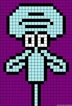 Squidward SpongeBob perler bead pattern
