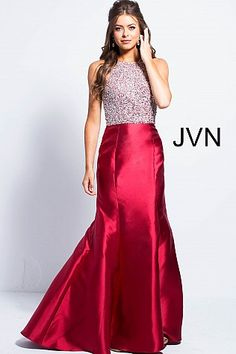 Burgundy High Neck Embellished Bodice Mermaid Dress JVN57615 #JVN #mermaiddress #promdress #formal