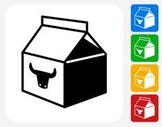 Milk Carton Icon Flat Graphic Design vector art illustration