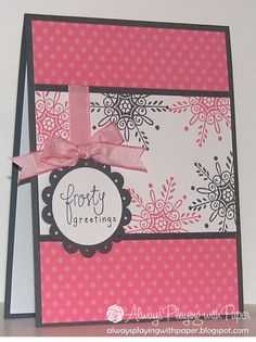 Not your usual palatte...  Card by Lesley Croghan  (061112)  [Stampin' Up!  Serene Snowflakes (retired)]
